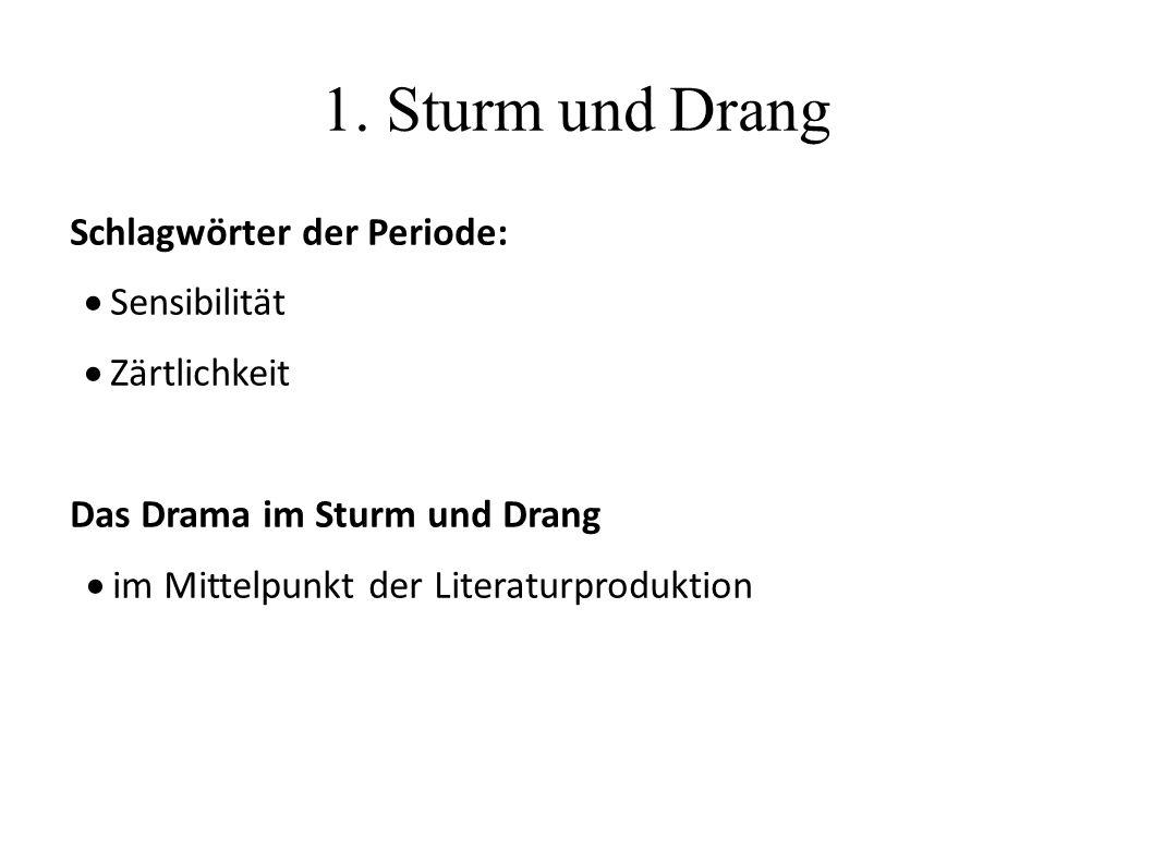 1. Sturm und Drang Schlagwörter der Periode:  Sensibilität  Zärtlichkeit Das Drama im Sturm und Drang  im Mittelpunkt der Literaturproduktion