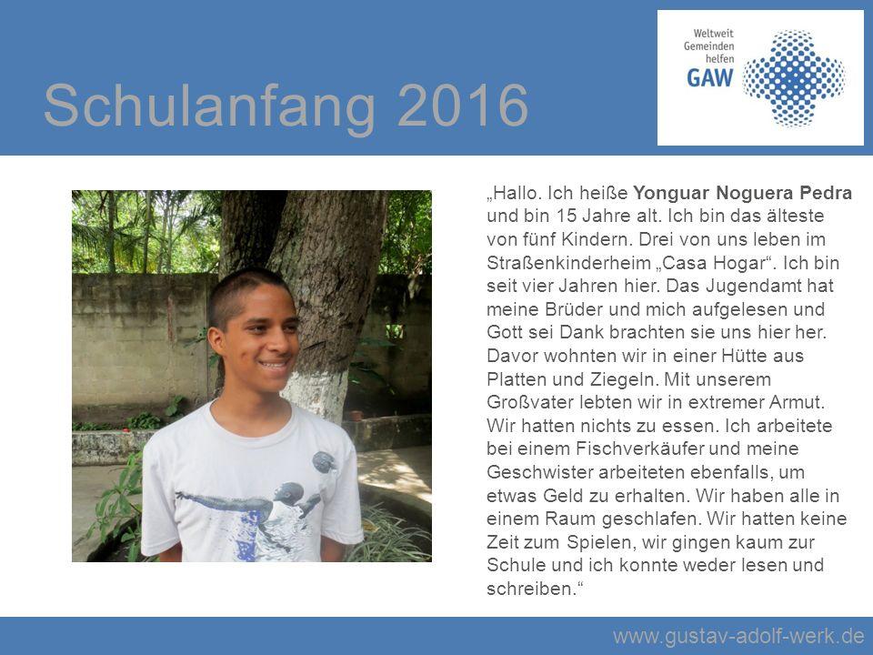 """www.gustav-adolf-werk.de Schulanfang 2016 """"Hallo."""