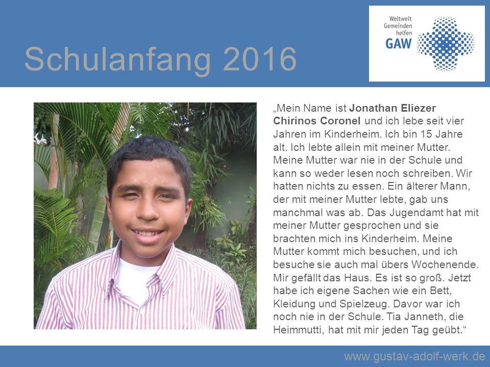 """www.gustav-adolf-werk.de Schulanfang 2016 """"Mein Name ist Jonathan Eliezer Chirinos Coronel und ich lebe seit vier Jahren im Kinderheim."""