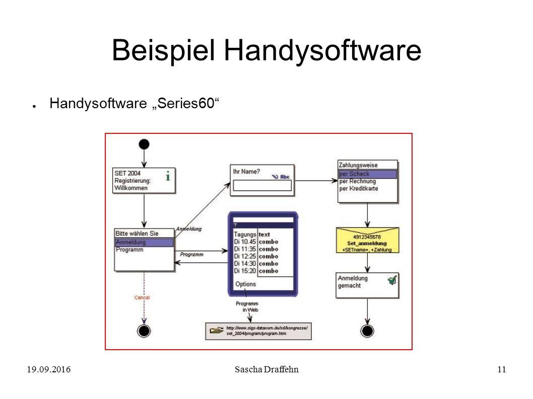 "19.09.2016Sascha Draffehn11 Beispiel Handysoftware ● Handysoftware ""Series60"