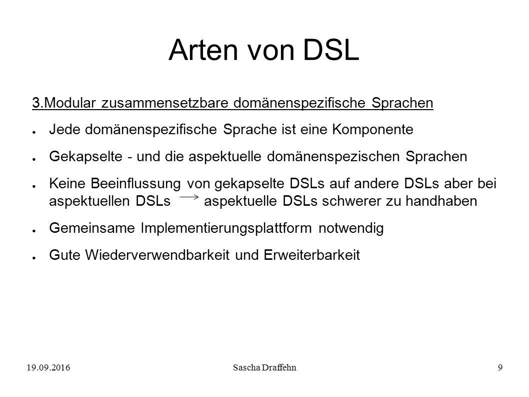 19.09.2016Sascha Draffehn9 Arten von DSL 3.Modular zusammensetzbare domänenspezifische Sprachen ● Jede domänenspezifische Sprache ist eine Komponente