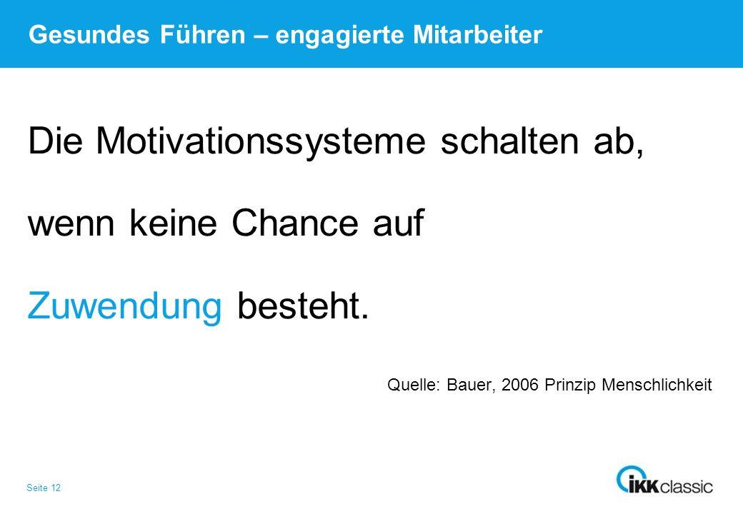 Seite 12 Gesundes Führen – engagierte Mitarbeiter Die Motivationssysteme schalten ab, wenn keine Chance auf Zuwendung besteht. Quelle: Bauer, 2006 Pri