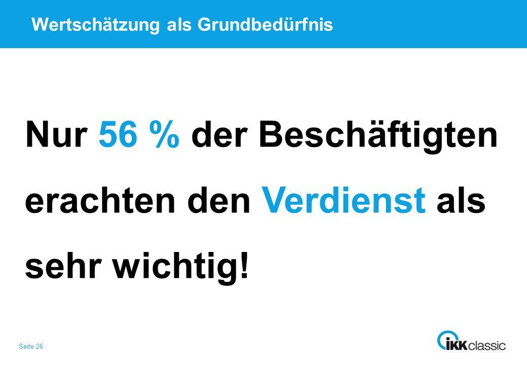 Seite 26 Wertschätzung als Grundbedürfnis Nur 56 % der Beschäftigten erachten den Verdienst als sehr wichtig!