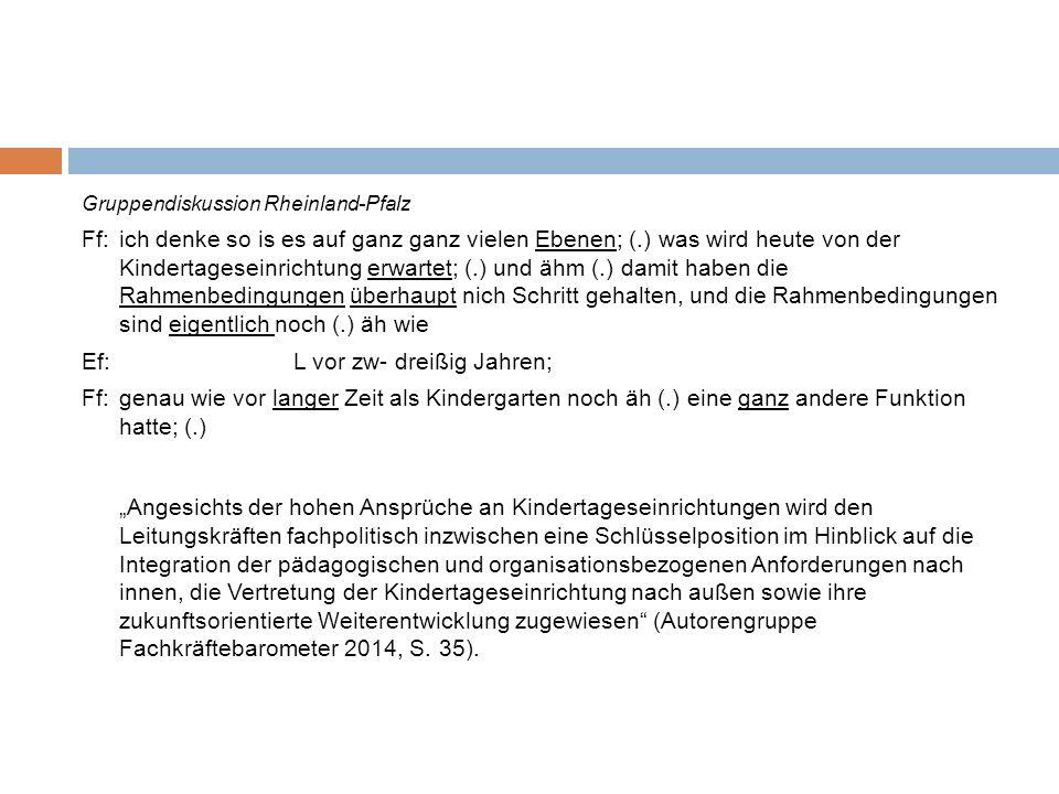 Leitungstypus Management Gruppendiskussion Nordrhein-Westfalen Bf:letztens war in der (Name Lokalzeitung) samstags ne Ausschreibung, äh Personal äh Chef von von irgend=nem großen Unternehmen.