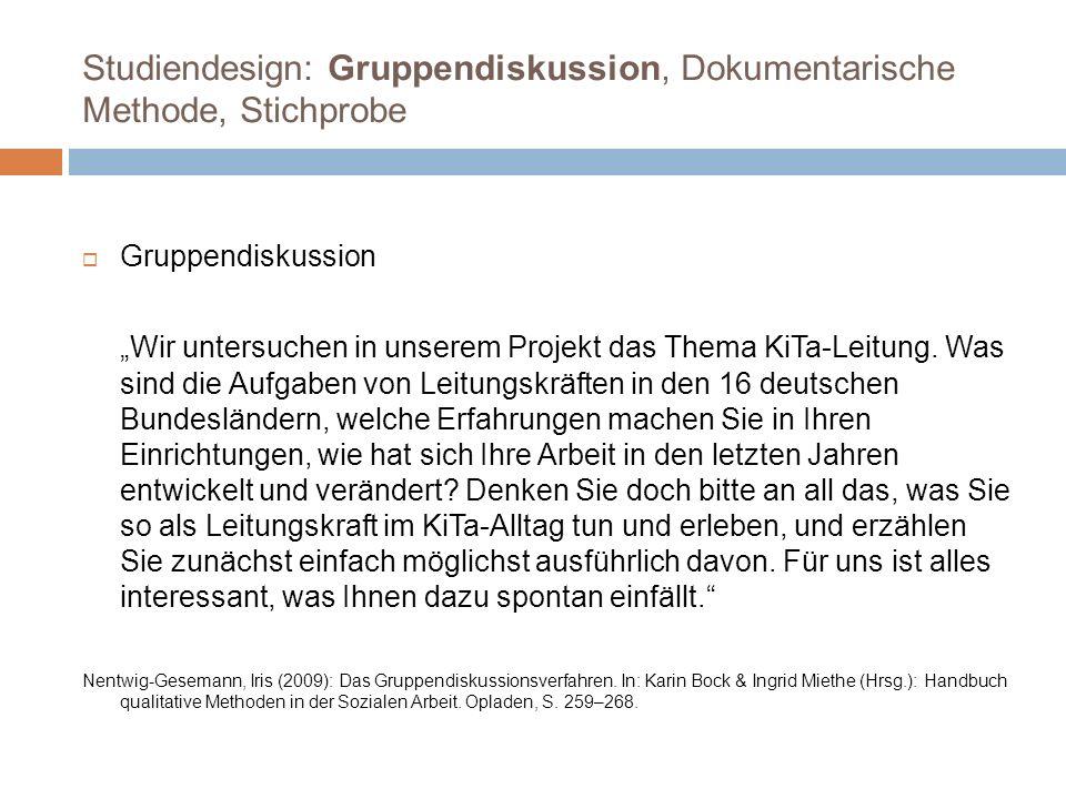 Untertypus: Strukturbezogenes Leadership Gruppendiskussion Rheinland-Pfalz Cf: (…) der Ursprung meines äh (.) meines beruflichen Tuns war ja mal der Wunsch Erzieherin zu werden, dann ähm mit dem Zuwachs der also der Größe der Einrichtung, (.) ähm ja; hab ich dann auch irgendwann nochmal studiert, äh Bildungs- und Sozialmanagement, um mich auch eben dieser Leitungsfunktion, ähm also dieser Rolle auch ähm gewachsen zu fühlen, weil (.) äh mittlerweile bin ich ja komplett freigestellt, und ich muss auch sagen ähm (.) diese pädagogische Arbeit is natürlich immer noch im äh Vordergrund, aber mehr auf der konzeptionellen Entwicklungsebene; aber die direkte Arbeit mit dem Kind, ähm die ist ja ähm ganz nach hinten gerückt; also ähm da (.) sind ähm (.) also intensive Beziehungskontakte ja gar nimmer möglich; (.) Df:ich gebe Verantwortung ab, (…) ich glaub da müssen wir auch hin kommen zu sagen, ich bin nicht derjenige von dem alles abhängt, ich glaub das is auch von ganz vielen Leitungen, is immer das Problem, die glauben ohne sie geht auch gar nix; ich glaub das is nich so; → pädagogisches Kerngeschäft im positiven Horizont, Fokussierung auf konzeptionelle Ausgestaltung und Weiterentwicklung