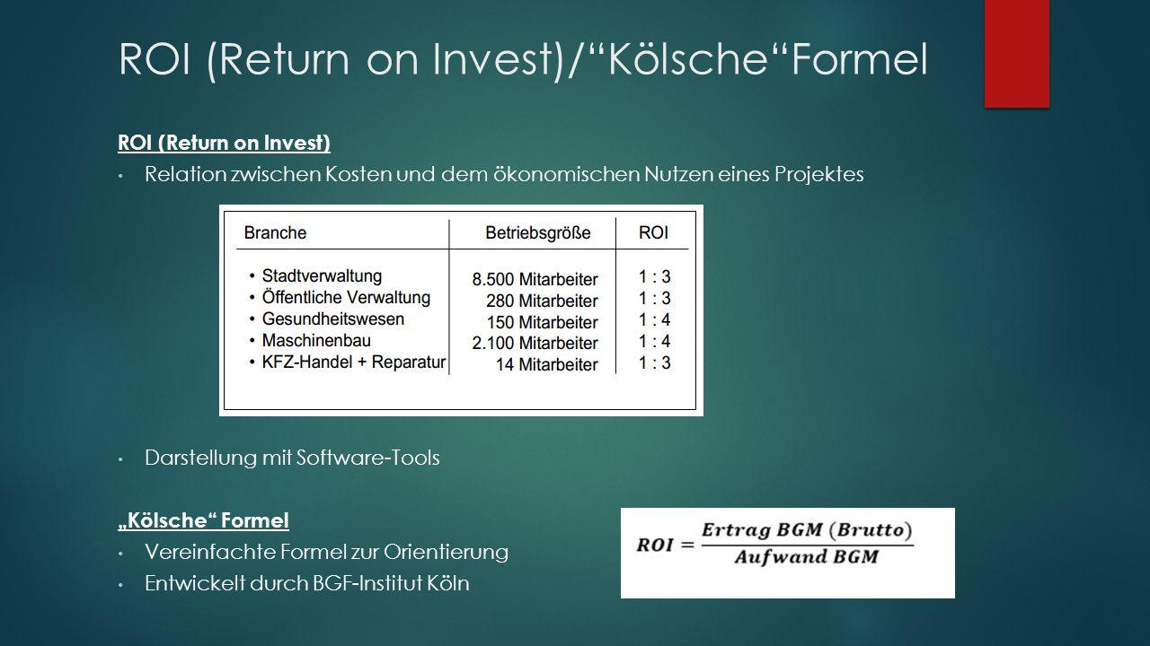 """ROI (Return on Invest)/ Kölsche Formel ROI (Return on Invest) Relation zwischen Kosten und dem ökonomischen Nutzen eines Projektes Darstellung mit Software-Tools """"Kölsche Formel Vereinfachte Formel zur Orientierung Entwickelt durch BGF-Institut Köln"""