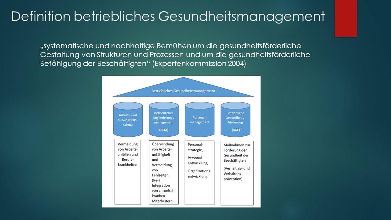 """Definition betriebliches Gesundheitsmanagement """"systematische und nachhaltige Bemühen um die gesundheitsförderliche Gestaltung von Strukturen und Prozessen und um die gesundheitsförderliche Befähigung der Beschäftigten (Expertenkommission 2004)"""