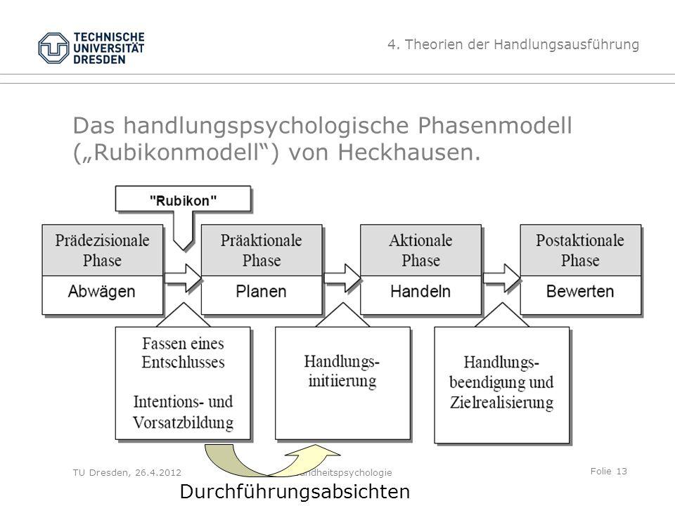 """Folie 13 TU Dresden, 26.4.2012Gesundheitspsychologie Das handlungspsychologische Phasenmodell (""""Rubikonmodell"""") von Heckhausen. 4. Theorien der Handlu"""