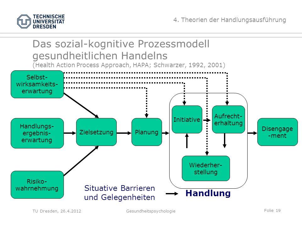 Folie 19 TU Dresden, 26.4.2012Gesundheitspsychologie Das sozial-kognitive Prozessmodell gesundheitlichen Handelns (Health Action Process Approach, HAP