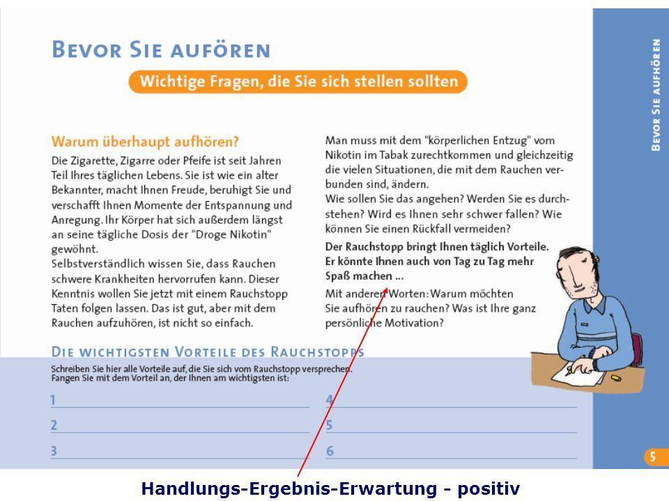 Folie 38 TU Dresden, 26.4.2012Gesundheitspsychologie Handlungs-Ergebnis-Erwartung - positiv