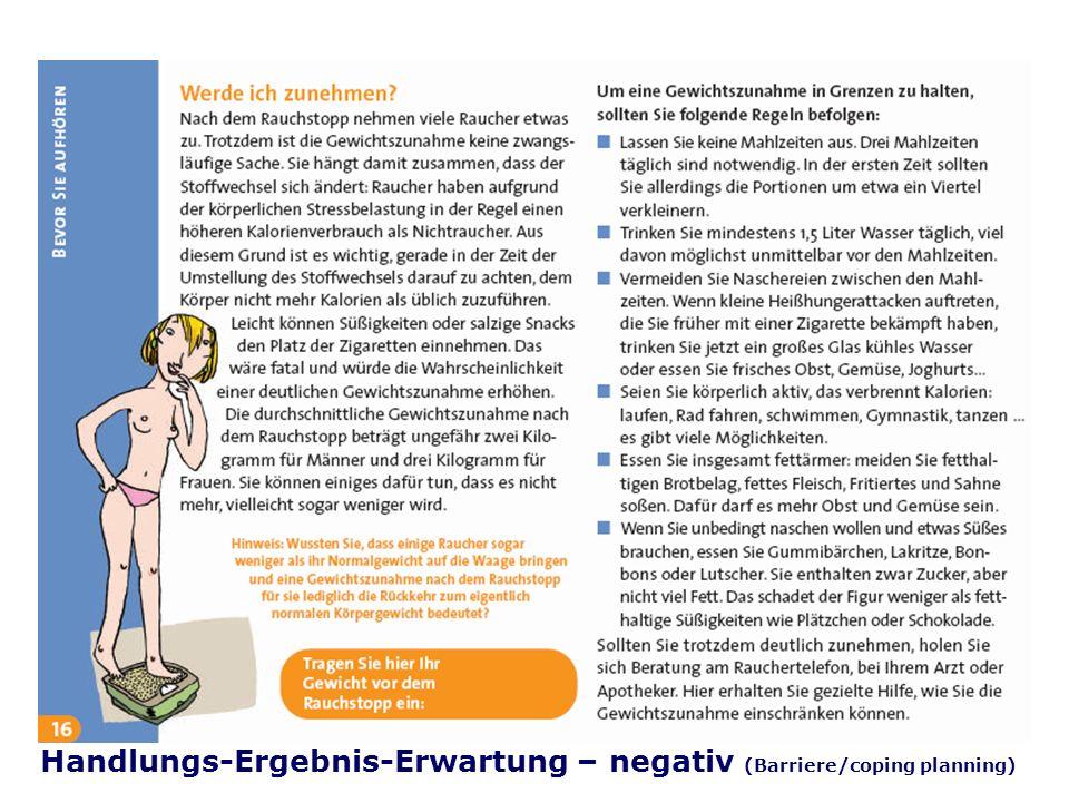 Folie 40 TU Dresden, 26.4.2012Gesundheitspsychologie Handlungs-Ergebnis-Erwartung – negativ (Barriere/coping planning)