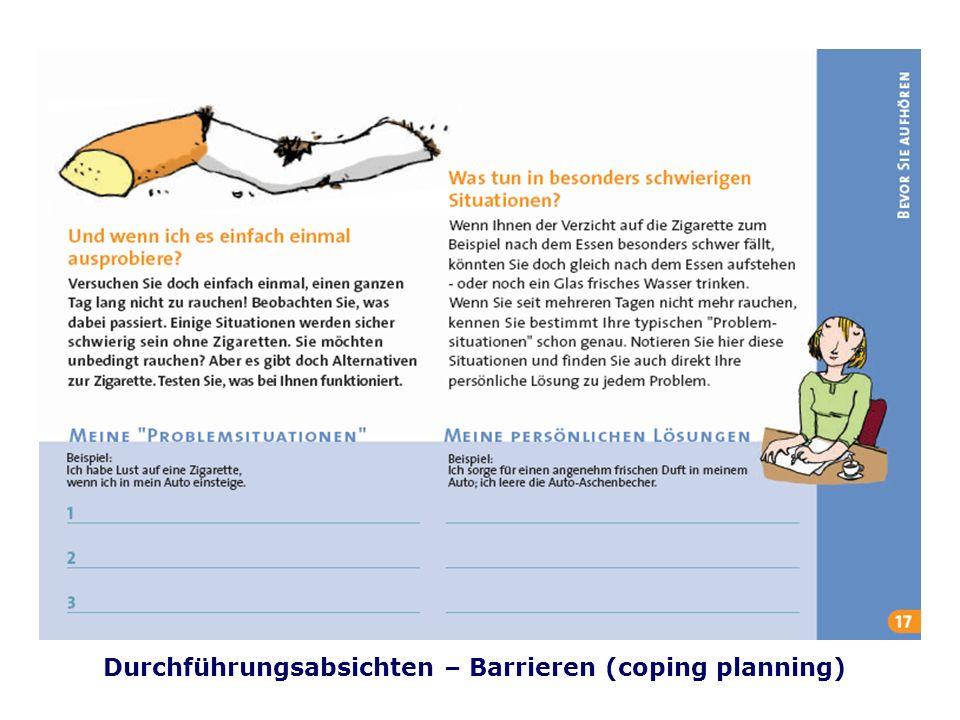 Folie 41 TU Dresden, 26.4.2012Gesundheitspsychologie Durchführungsabsichten – Barrieren (coping planning)