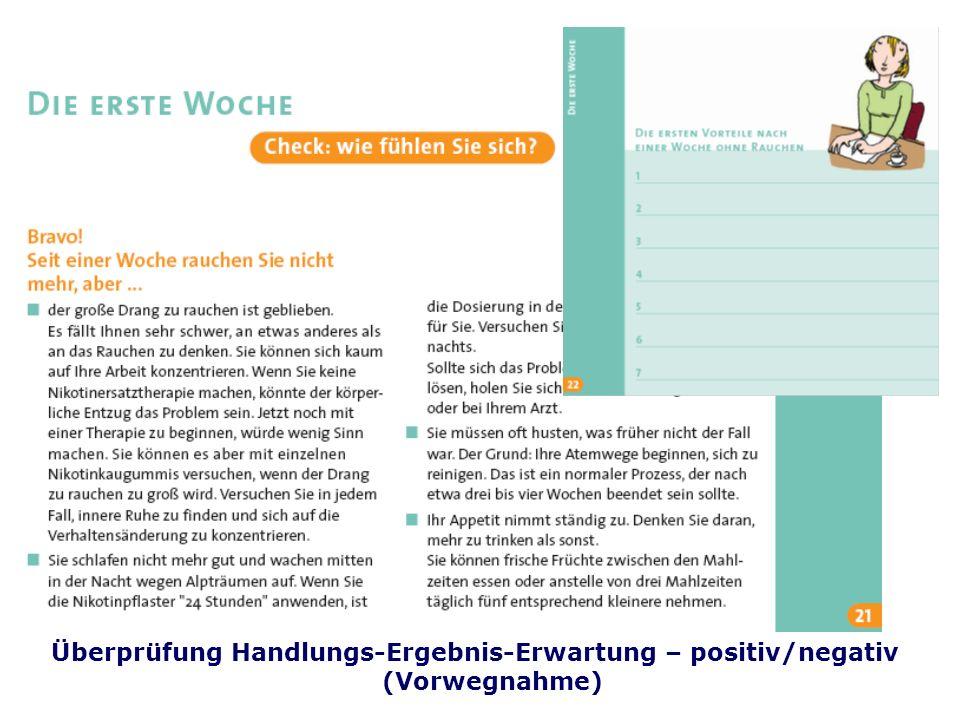 Folie 43 TU Dresden, 26.4.2012Gesundheitspsychologie Überprüfung Handlungs-Ergebnis-Erwartung – positiv/negativ (Vorwegnahme)