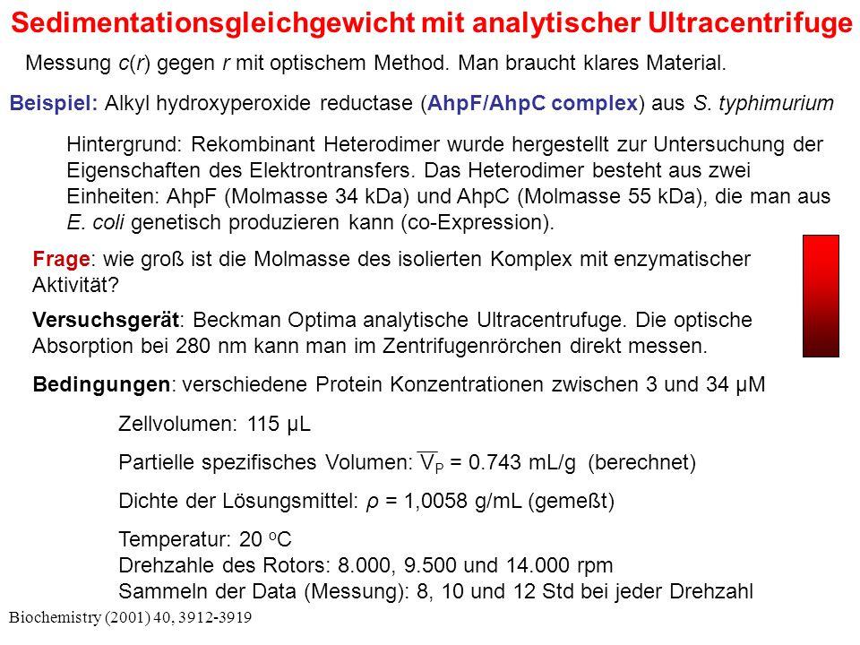 Sedimentationsgleichgewicht mit analytischer Ultracentrifuge Biochemistry (2001) 40, 3912-3919 Messung c(r) gegen r mit optischem Method.