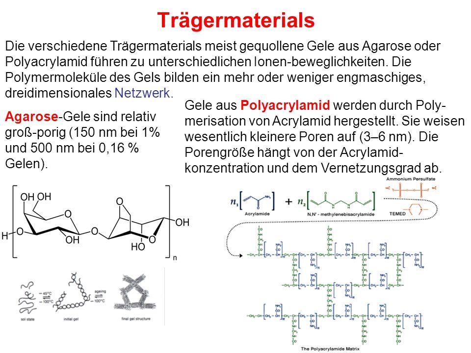 Trägermaterials Die verschiedene Trägermaterials meist gequollene Gele aus Agarose oder Polyacrylamid führen zu unterschiedlichen Ionen-beweglichkeiten.