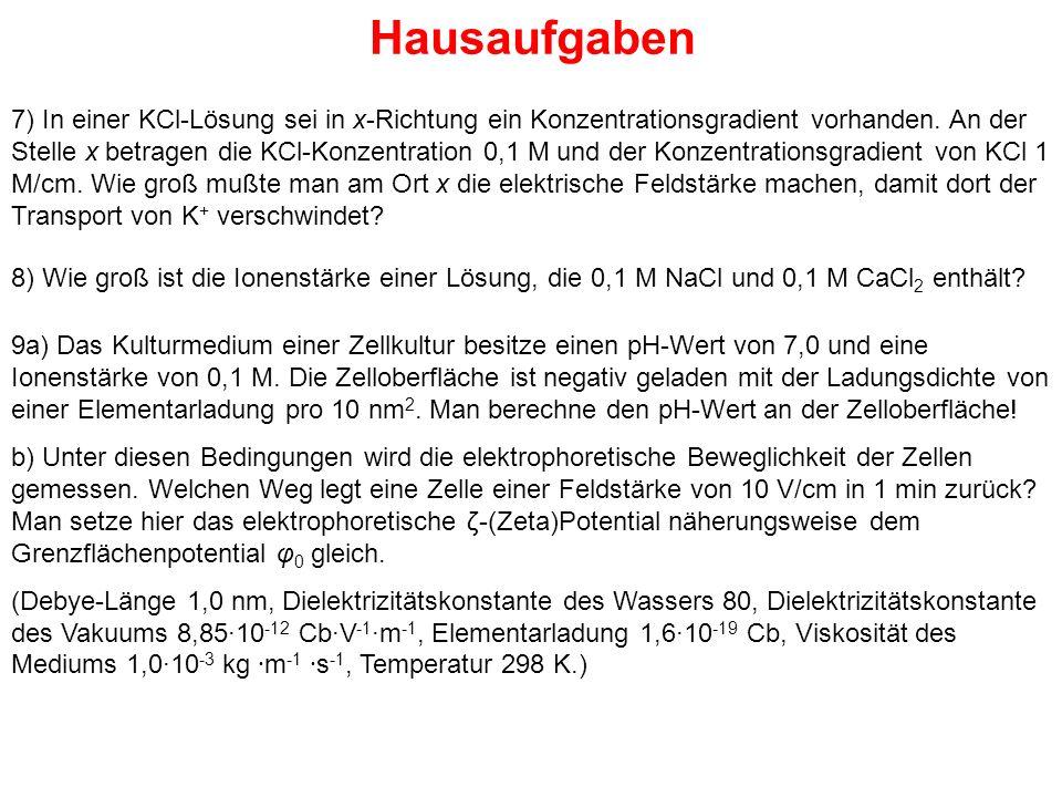 Hausaufgaben 7) In einer KCl-Lösung sei in x-Richtung ein Konzentrationsgradient vorhanden.