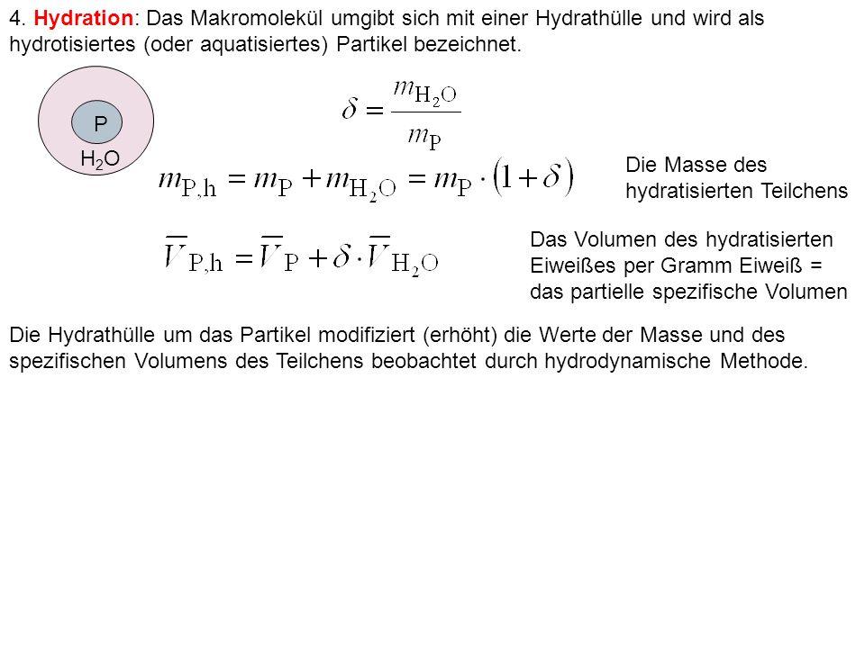 4. Hydration: Das Makromolekül umgibt sich mit einer Hydrathülle und wird als hydrotisiertes (oder aquatisiertes) Partikel bezeichnet. Die Masse des h