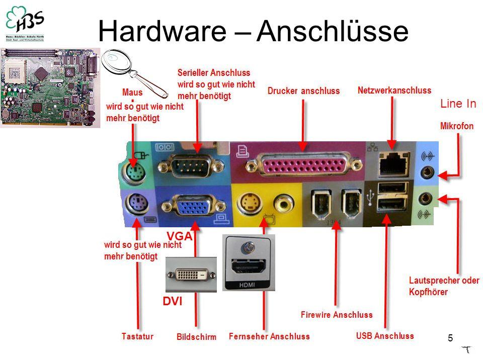 5 Hardware – Anschlüsse VGA DVI Line In