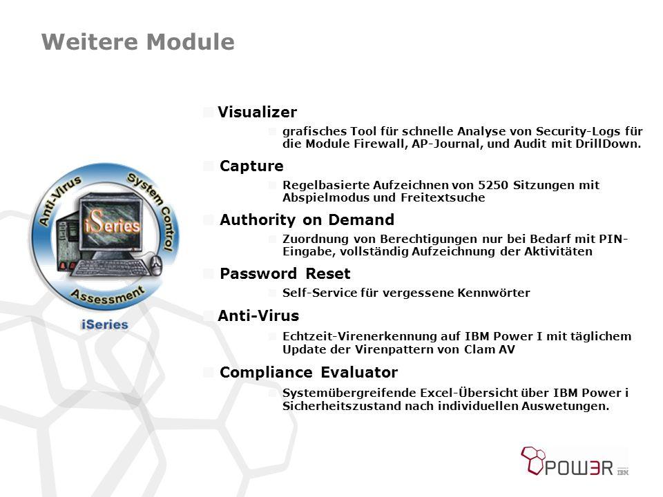 Weitere Module  Visualizer  grafisches Tool für schnelle Analyse von Security-Logs für die Module Firewall, AP-Journal, und Audit mit DrillDown.