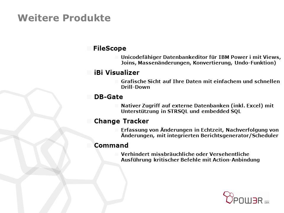 Weitere Produkte  FileScope  Unicodefähiger Datenbankeditor für IBM Power i mit Views, Joins, Massenänderungen, Konvertierung, Undo-Funktion)  iBi Visualizer  Grafische Sicht auf Ihre Daten mit einfachem und schnellen Drill-Down  DB-Gate  Nativer Zugriff auf externe Datenbanken (inkl.