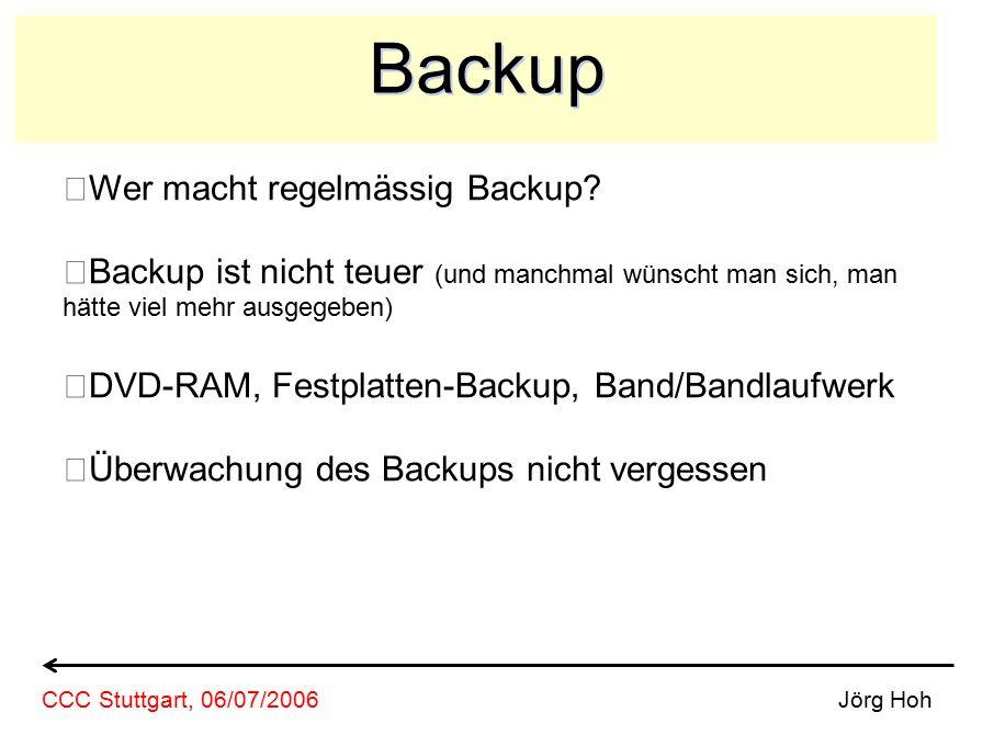 Backup Wer macht regelmässig Backup? Backup ist nicht teuer (und manchmal wünscht man sich, man hätte viel mehr ausgegeben) DVD-RAM, Festplatten-Backu