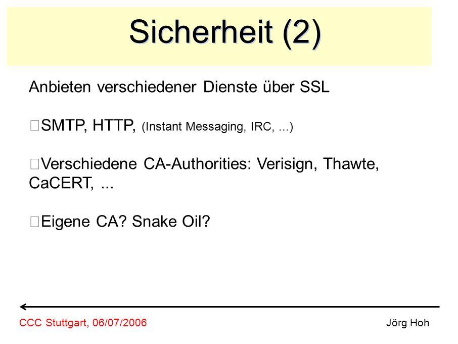 Sicherheit (2) Anbieten verschiedener Dienste über SSL SMTP, HTTP, (Instant Messaging, IRC,...) Verschiedene CA-Authorities: Verisign, Thawte, CaCERT,