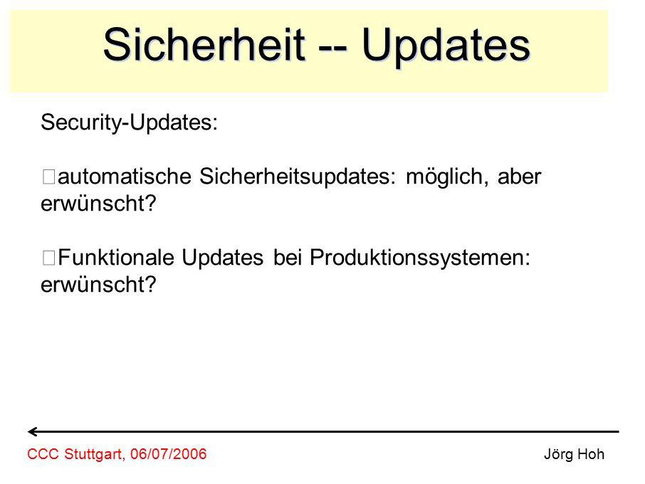 Sicherheit -- Updates Security-Updates: automatische Sicherheitsupdates: möglich, aber erwünscht? Funktionale Updates bei Produktionssystemen: erwünsc