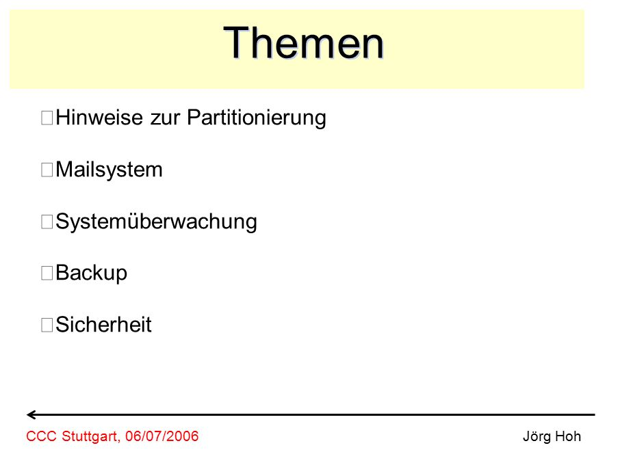Partitonierung feste Partitionierung dynamische Partitionen (Volume Manager) on-the-fly vergrössern von Partitionen Snapshots Jörg HohCCC Stuttgart, 06/07/2006