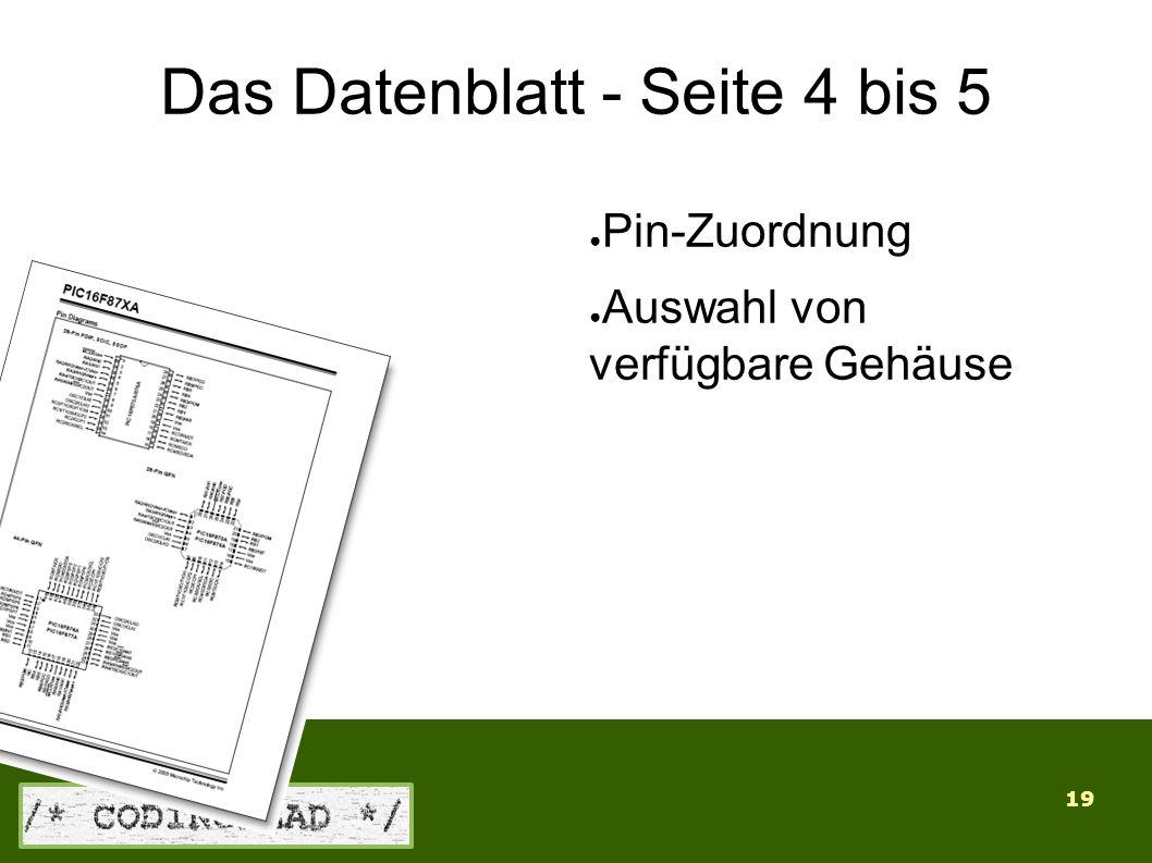 19 Das Datenblatt - Seite 4 bis 5 ● Pin-Zuordnung ● Auswahl von verfügbare Gehäuse