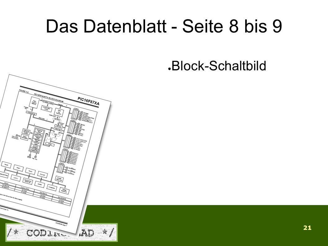 21 Das Datenblatt - Seite 8 bis 9 ● Block-Schaltbild
