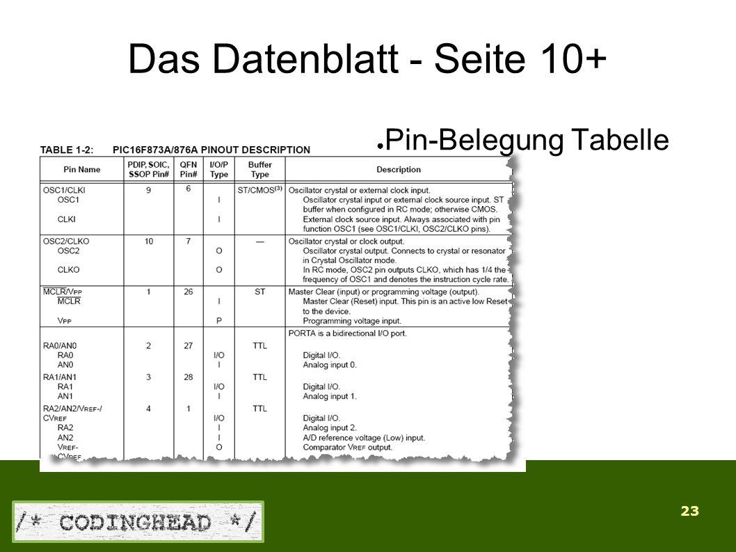 23 Das Datenblatt - Seite 10+ ● Pin-Belegung Tabelle