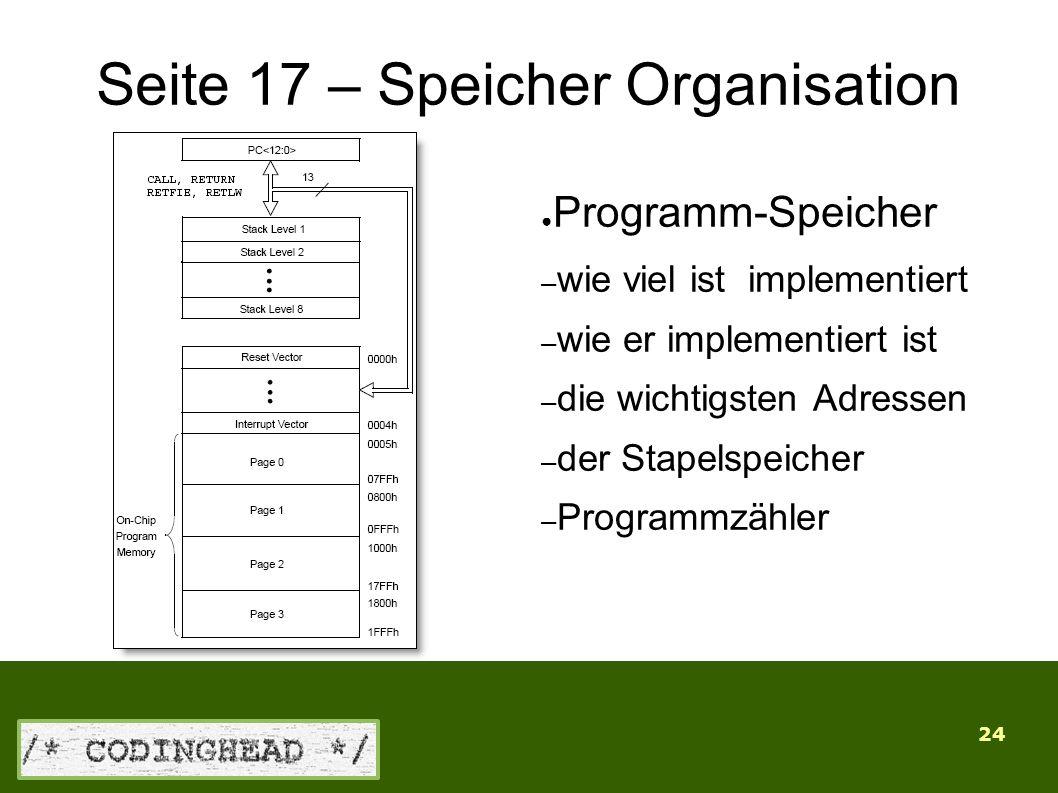 24 Seite 17 – Speicher Organisation ● Programm-Speicher – wie viel ist implementiert – wie er implementiert ist – die wichtigsten Adressen – der Stapelspeicher – Programmzähler
