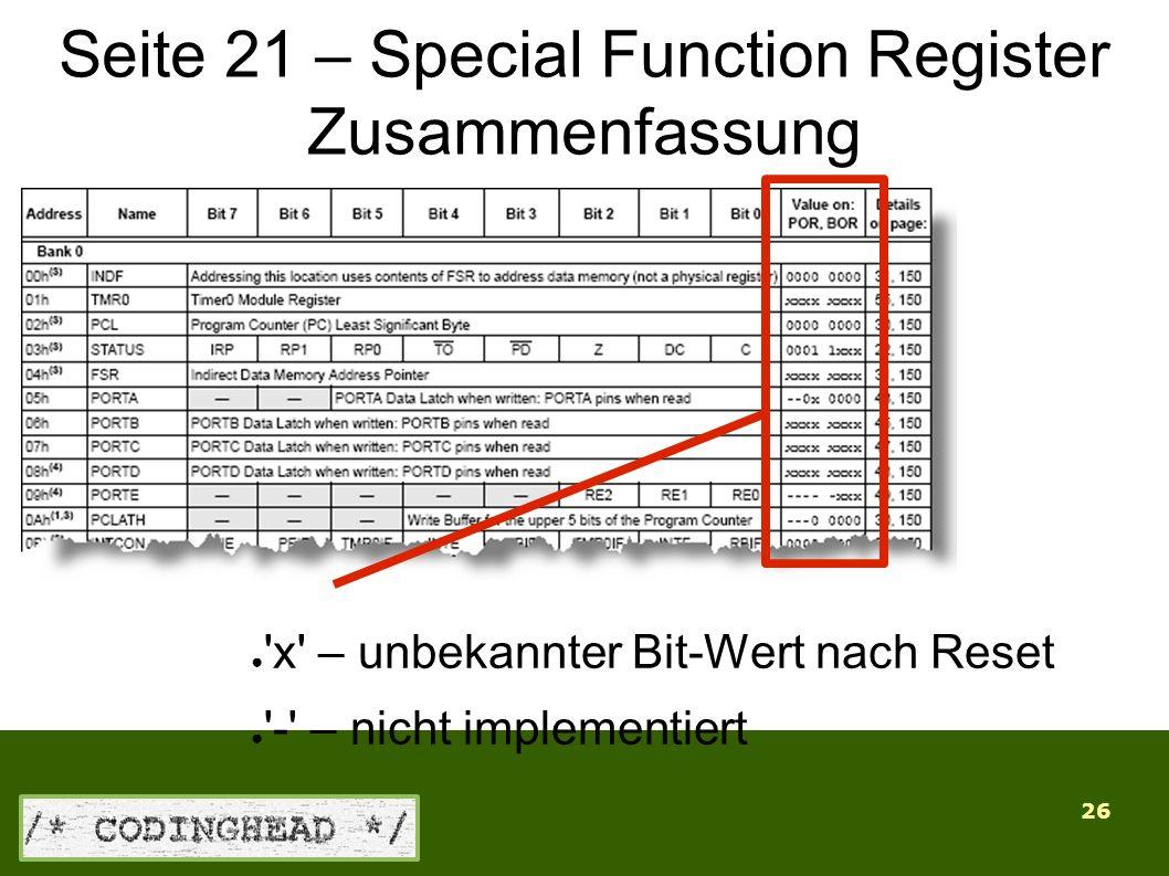 26 Seite 21 – Special Function Register Zusammenfassung ● x – unbekannter Bit-Wert nach Reset ● - – nicht implementiert