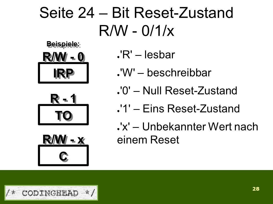 28 Seite 24 – Bit Reset-Zustand R/W - 0/1/x ● R – lesbar ● W – beschreibbar ● 0 – Null Reset-Zustand ● 1 – Eins Reset-Zustand ● x – Unbekannter Wert nach einem Reset IRP TO C C R/W - 0 R - 1 R/W - x Beispiele: