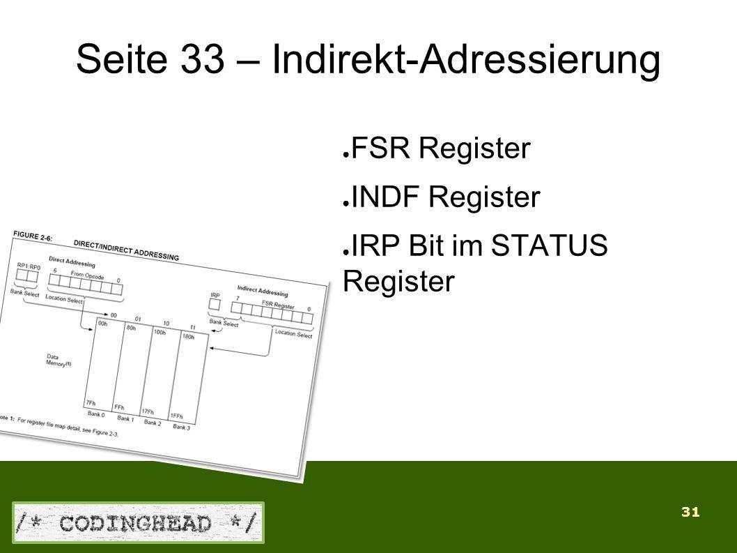 31 Seite 33 – Indirekt-Adressierung ● FSR Register ● INDF Register ● IRP Bit im STATUS Register