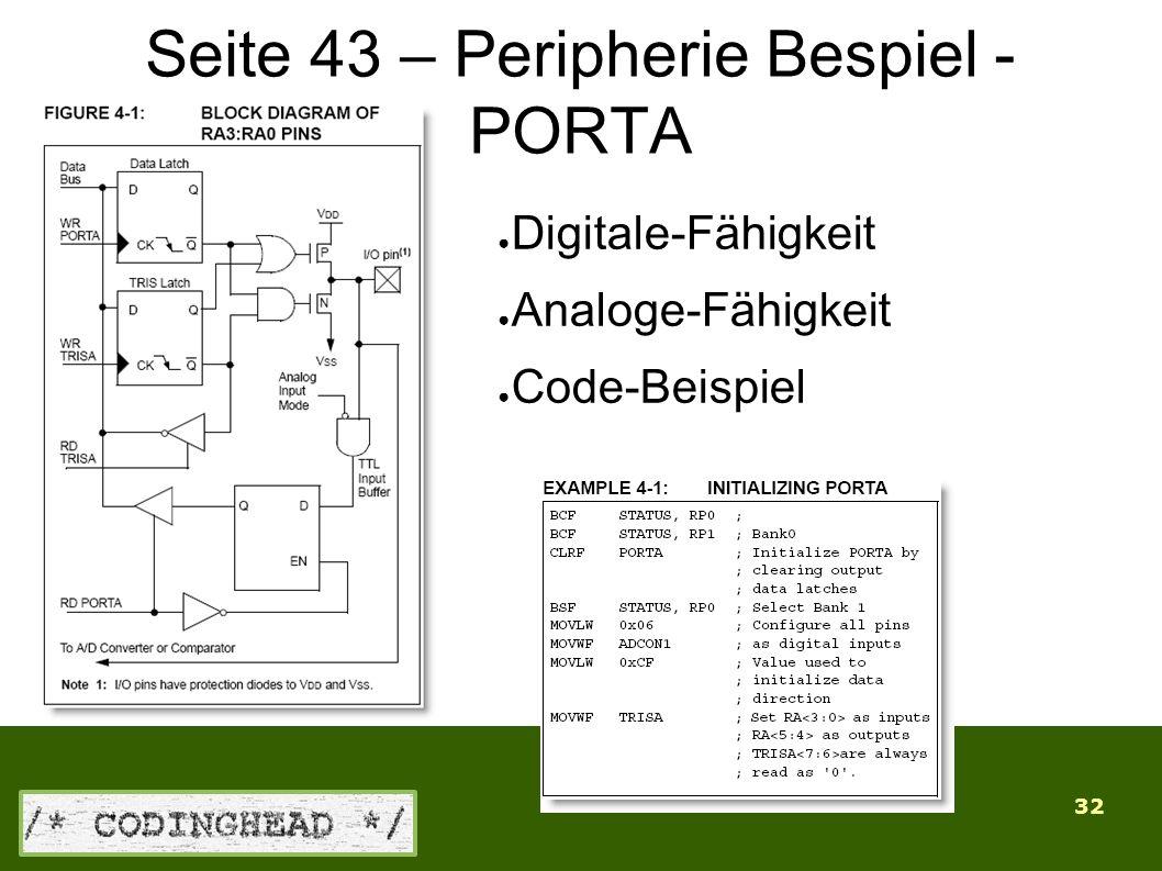 32 Seite 43 – Peripherie Bespiel - PORTA ● Digitale-Fähigkeit ● Analoge-Fähigkeit ● Code-Beispiel