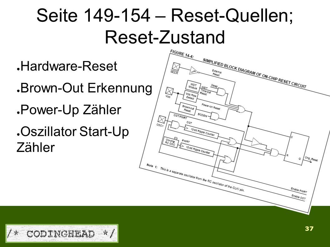 37 Seite 149-154 – Reset-Quellen; Reset-Zustand ● Hardware-Reset ● Brown-Out Erkennung ● Power-Up Zähler ● Oszillator Start-Up Zähler