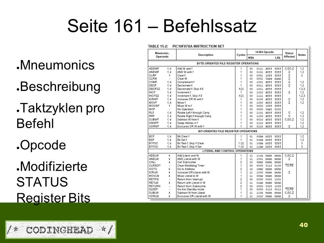 40 Seite 161 – Befehlssatz ● Mneumonics ● Beschreibung ● Taktzyklen pro Befehl ● Opcode ● Modifizierte STATUS Register Bits
