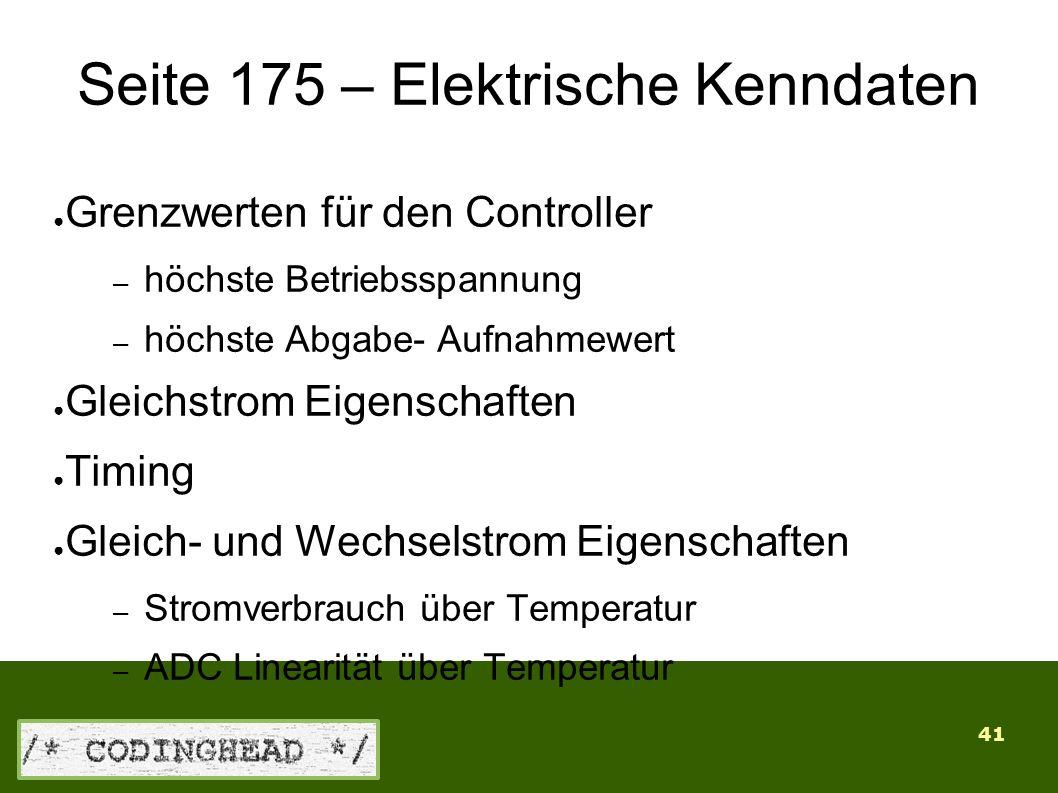 41 Seite 175 – Elektrische Kenndaten ● Grenzwerten für den Controller – höchste Betriebsspannung – höchste Abgabe- Aufnahmewert ● Gleichstrom Eigenschaften ● Timing ● Gleich- und Wechselstrom Eigenschaften – Stromverbrauch über Temperatur – ADC Linearität über Temperatur