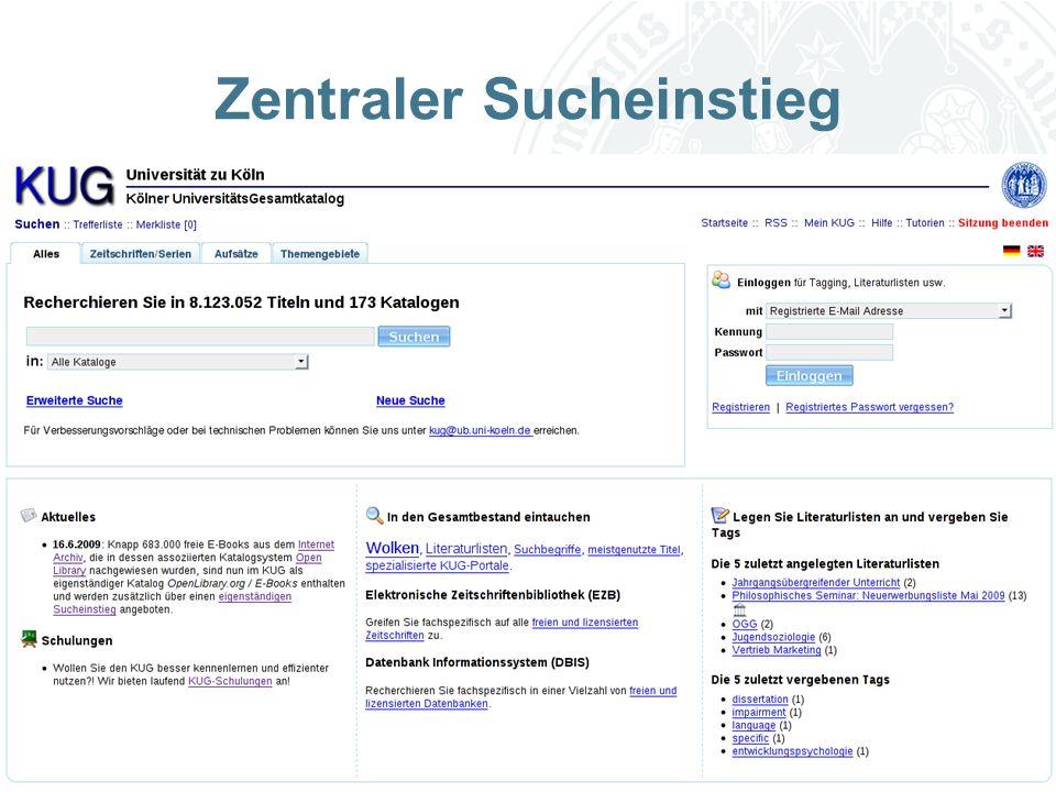 Universität zu Köln Zentraler Sucheinstieg