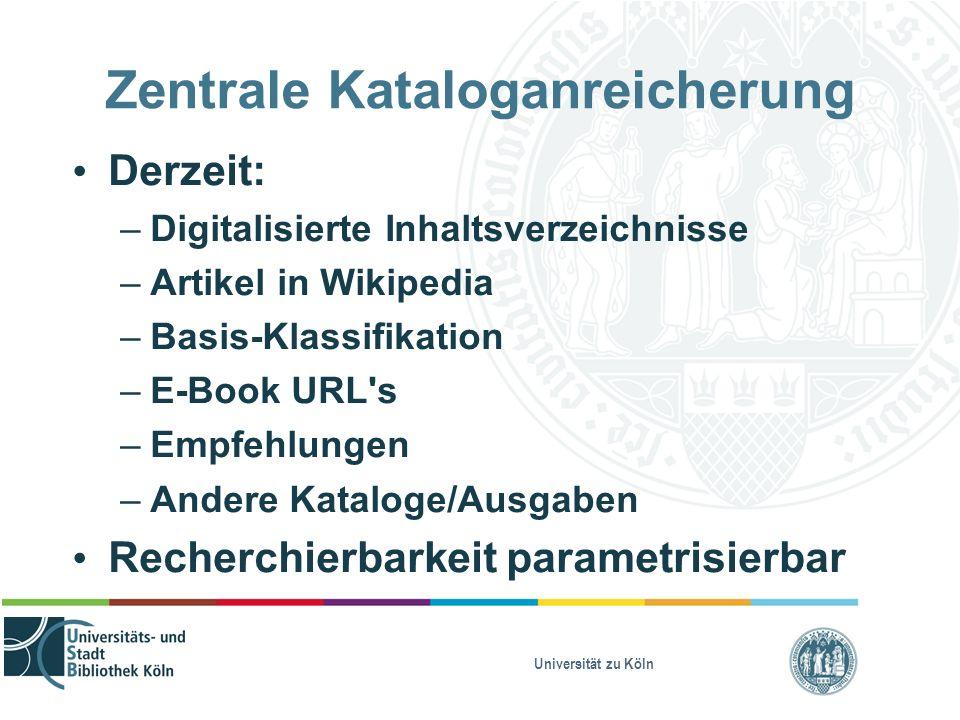 Universität zu Köln Zentrale Kataloganreicherung Derzeit: – Digitalisierte Inhaltsverzeichnisse – Artikel in Wikipedia – Basis-Klassifikation – E-Book