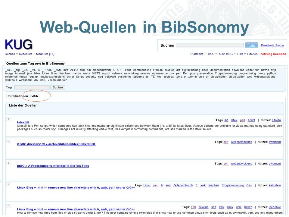 Universität zu Köln Web-Quellen in BibSonomy