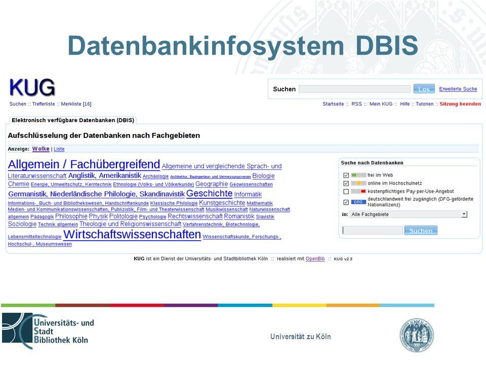 Universität zu Köln Datenbankinfosystem DBIS