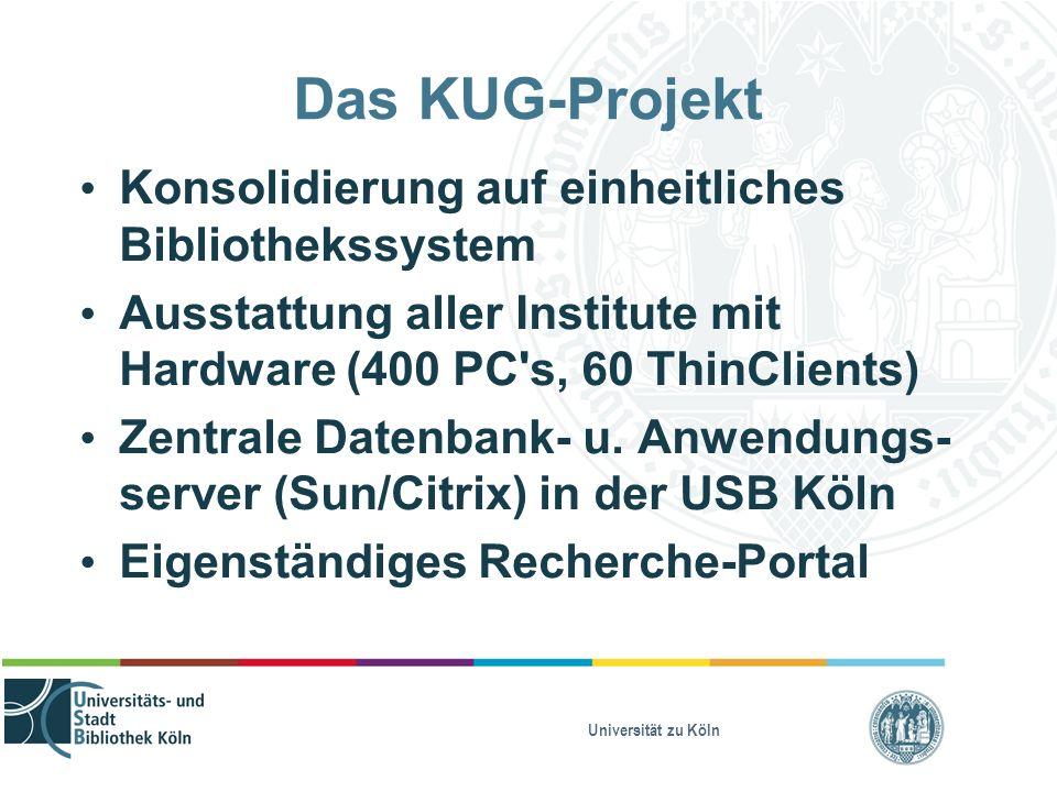 Universität zu Köln Das KUG-Projekt Konsolidierung auf einheitliches Bibliothekssystem Ausstattung aller Institute mit Hardware (400 PC's, 60 ThinClie