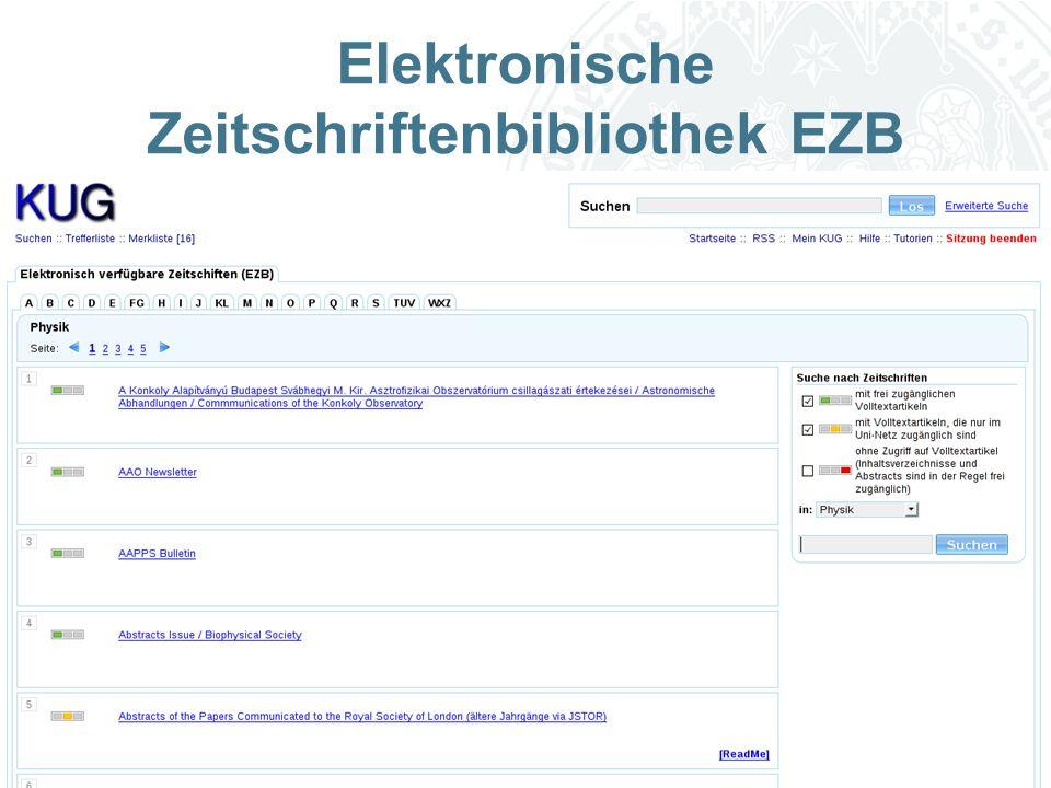 Universität zu Köln Elektronische Zeitschriftenbibliothek EZB
