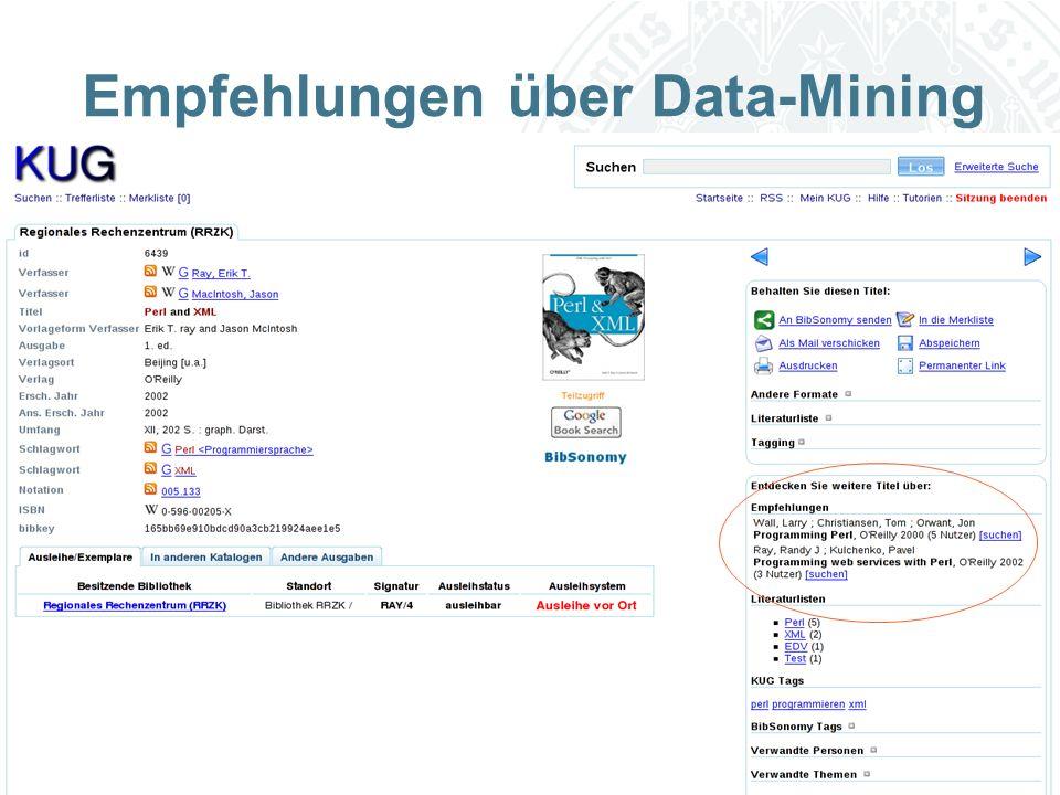 Universität zu Köln Empfehlungen über Data-Mining