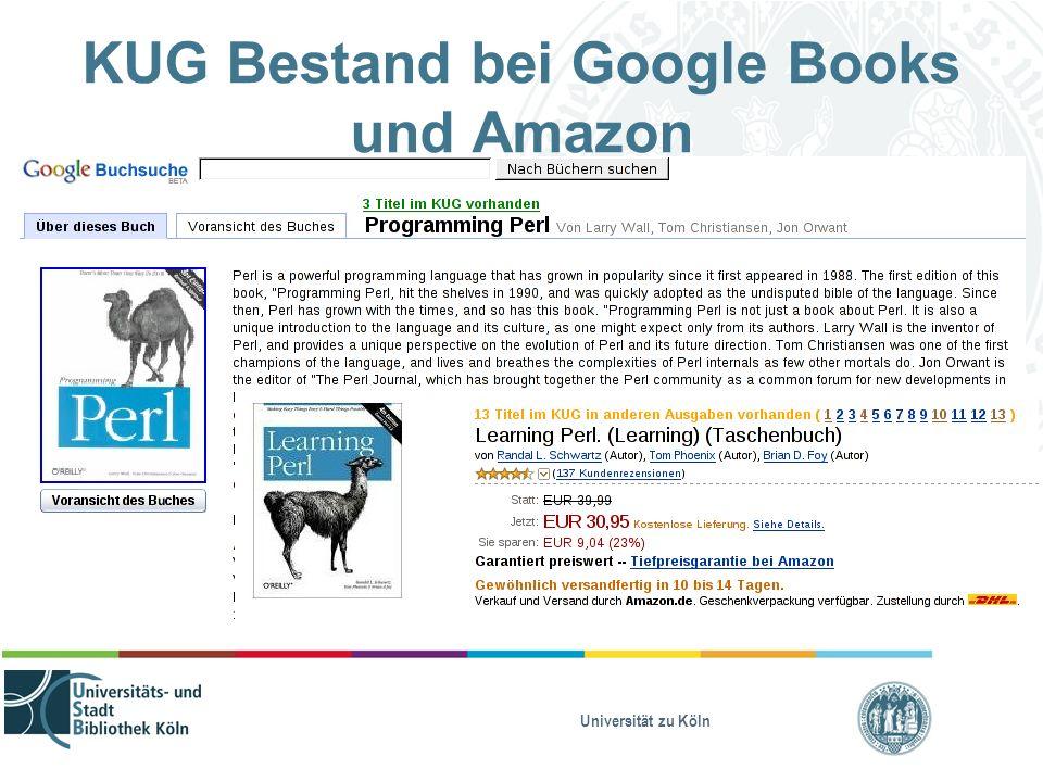 Universität zu Köln KUG Bestand bei Google Books und Amazon