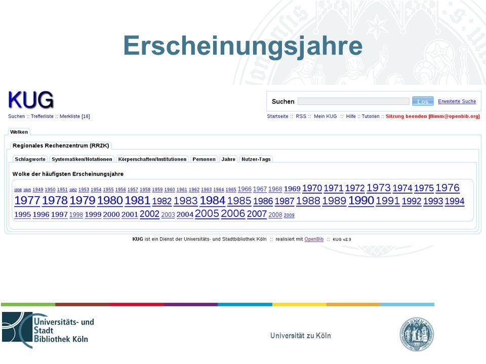 Universität zu Köln Erscheinungsjahre