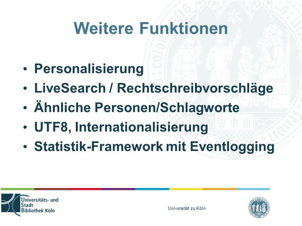 Universität zu Köln Weitere Funktionen Personalisierung LiveSearch / Rechtschreibvorschläge Ähnliche Personen/Schlagworte UTF8, Internationalisierung