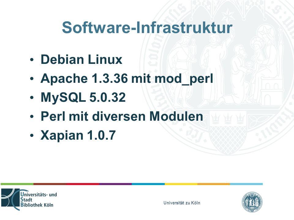 Universität zu Köln Software-Infrastruktur Debian Linux Apache 1.3.36 mit mod_perl MySQL 5.0.32 Perl mit diversen Modulen Xapian 1.0.7